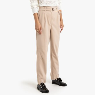La Redoute Collections Straight Cut Trousers with Matching Belt, Length 27""