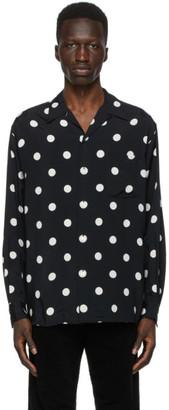 Wacko Maria Black and White Dots Open Collar Shirt