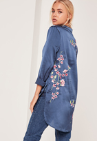 Missguided Long Sleeve Embroidered Satin Shirt