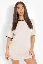 Thumbnail for your product : boohoo Leopard Print Contrast Trim T-Shirt Dress