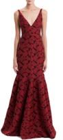 J. Mendel V-Neck Floral Jacquard Gown