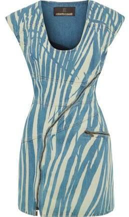 Roberto Cavalli Zebra-print Denim Mini Dress