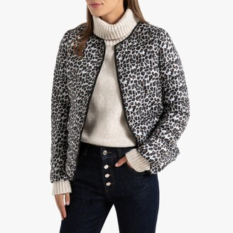 La Redoute Collections Short Lightweight Padded Bomber Jacket in Leopard Print with Pockets