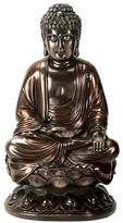 Summit 10 Inch Cold Cast Bronze Colored Resin Buddha on Lotus Statue
