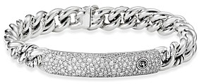 David Yurman Belmont Curb Link Id Bracelet with Pave Diamonds