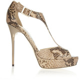 Jimmy Choo Totem metal-heel snake-effect leather sandals