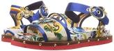 Dolce & Gabbana Maolica Ceramic Print Mesh and Satin Sandal Women's Dress Sandals