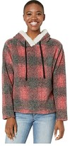 True Grit Dylan By Dylan by Sherpa Shadow Plaid Pile Pullover Hoodie with Side Zipper (Red) Women's Clothing