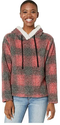 Dylan by True Grit Sherpa Shadow Plaid Pile Pullover Hoodie with Side Zipper (Red) Women's Clothing
