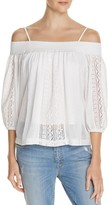 Freeway Cold Shoulder Crochet Inset Top