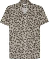 Reiss Reiss Hiro - Printed Cotton Shirt In Khaki