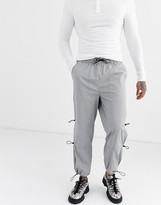 Asos Design ASOS DESIGN cargo trousers with ruched leg details in grey-Silver