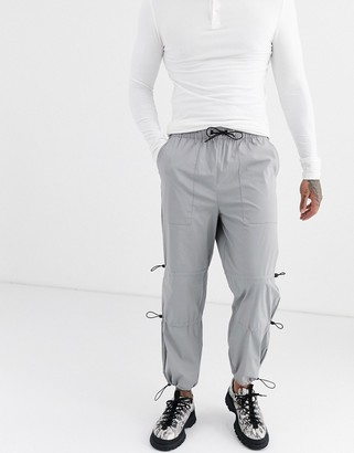 ASOS DESIGN cargo trousers with ruched leg details in grey