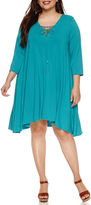 Boutique + + 3/4 Sleeve A-Line Dress-Plus