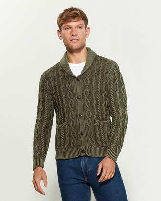 Forte Cashmere Stone Washed Cable Knit Long Sleeve Cardigan