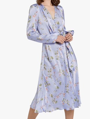 Ghost Meryl Floral Wrap Tie V-Neck Dress, Swingtime Ditsy Blue