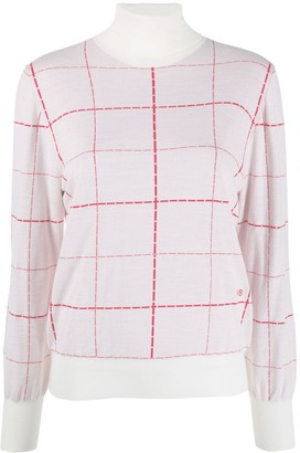 Victoria Beckham turtle neck check print sweater