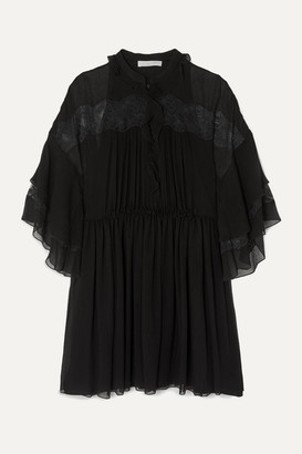 Chloé Lace-paneled Ruffled Plisse-silk Georgette Mini Dress - Black