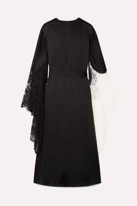 Christopher Kane Lace-trimmed Satin Midi Dress - Black