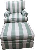 One Kings Lane Vintage Striped Southwood Chair & Ottoman