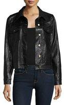 Frame Leather Crop Jacket, Black