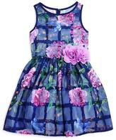 Pippa & Julie Girls' Floral Windowpane Print Dress - Sizes 2-6X