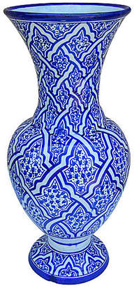 One Kings Lane Vintage Blue Ceramic Vase with Ornate Arabesque - The Moroccan Room