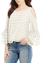 Chelsea & Violet Mixed Cold Shoulder Tiered Sleeve Top