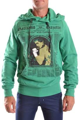 Galliano Men's Green Cotton Sweatshirt