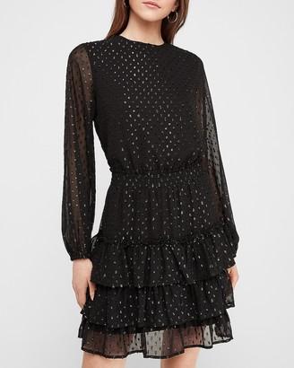 Express Metallic Clip Dot Tiered Smocked Waist Dress