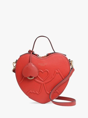 Radley Kissing Dogs Love Heart Leather Cross Body Bag, Red