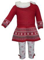 Blueberi Boulevard 2-Piece Faux Fur Collared Sweater Set in Red