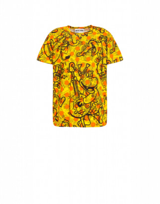 Moschino Yellow Pages Jersey T-shirt Man Yellow Size 44 It - (34 Us)