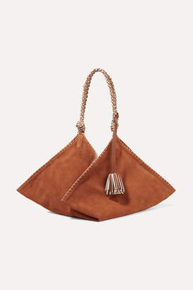 Ulla Johnson Behati Origami Large Leather-trimmed Suede Tote - Light brown