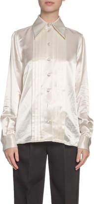 Neiman Marcus Pleated Satin Button-Front Blouse
