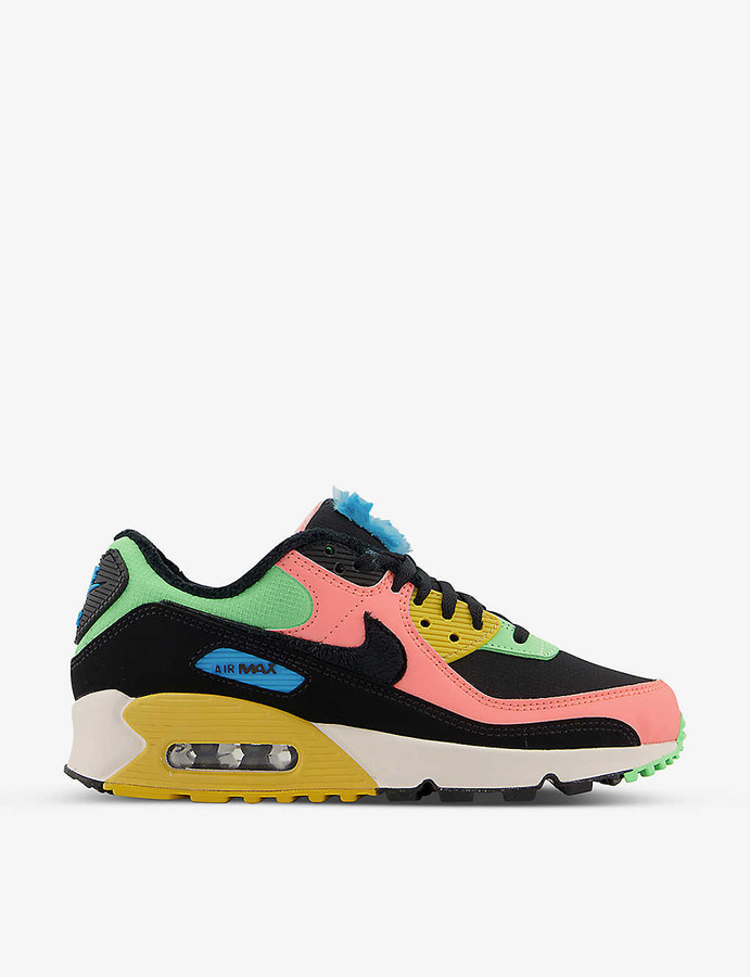 Nike Air Max 90 textile and leather trainers - ShopStyle Sneakers ...