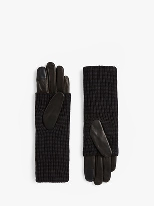 AllSaints Stripe Cuff Leather Gloves