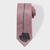 Paul Smith Men's Pink Narrow Silk Tie With Large Embroidered Flower