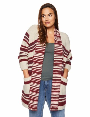 Lucky Brand Women's Plus Size Stripe Cardigan Sweater