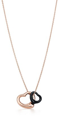 Tiffany & Co. Elsa Peretti Open Heart pendant of 18k rose gold and black jade