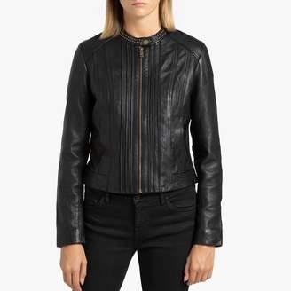 Ikks Short Zipped Leather Jacket