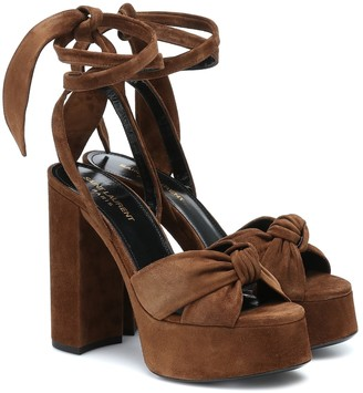 Saint Laurent Bianca 125 suede platform sandals