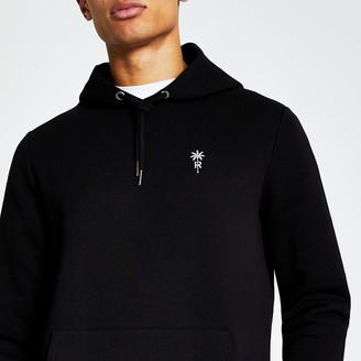 River Island Black palm tree embroidered slim fit hoodie