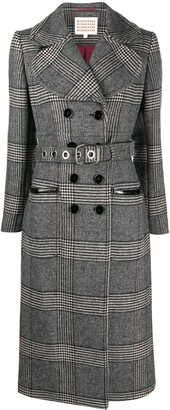 ALEXACHUNG Belted Check Pattern Trench Coat