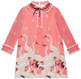 Gucci Children's herons print silk dress