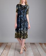 Aster Blue & Yellow Swirl Half-Sleeve Midi Dress - Plus Too