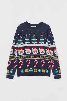 H&M Jacquard-knit Sweater - Blue
