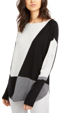 INC International Concepts Inc Colorblocked Shirttail Sweater, Created for Macy's