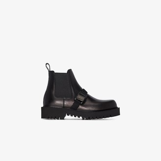 Valentino black Beatle leather Chelsea boots