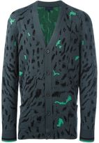 Lanvin paneled tiger print cardigan - men - Silk/Wool - S